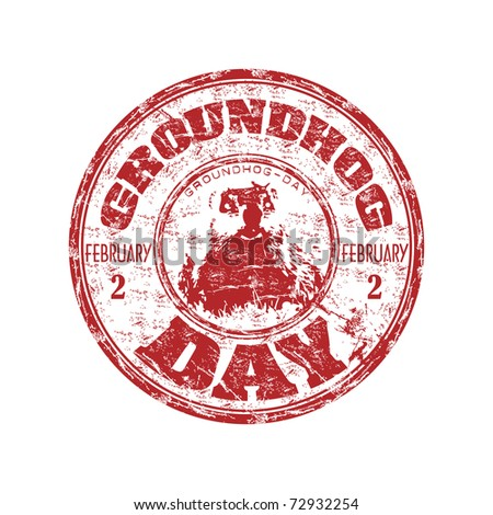 Red grunge rubber stamp with a little groundhog and the text Groundhog Day written inside the stamp