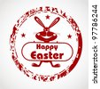 Red grunge rubber stamp with bunny silhouette and the text Happy Easter written inside the stamp . EPS 10 - stock vector