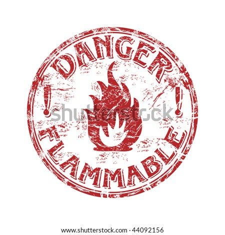 Red grunge rubber stamp with fire symbol and the text danger flammable written inside the stamp - stock vector