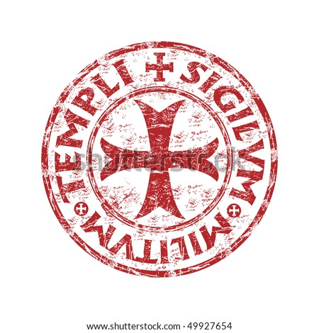 Red grunge rubber stamp with templar cross and the text templi sigilvm militvm written  inside the stamp - stock vector