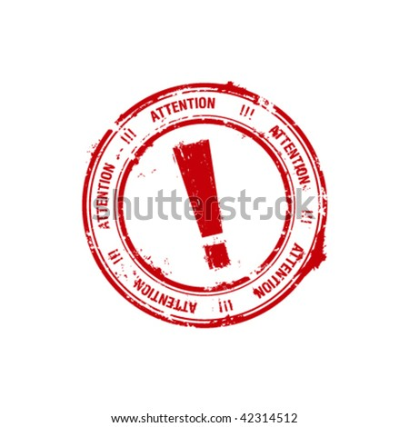 red grunge rubber stamp with the exclamation mark inside - stock vector