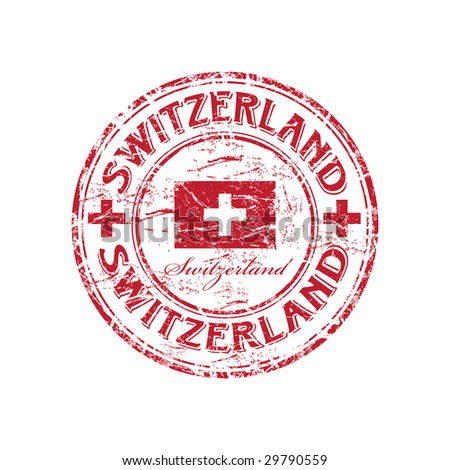 Red grunge rubber stamp with the flag of Switzerland - stock vector