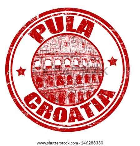 Red grunge rubber stamp with the name of Pula city from Croatia written inside the stamp - stock vector