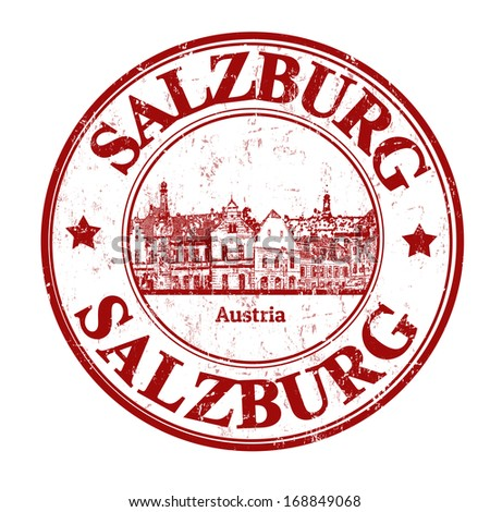 Red grunge rubber stamp with  the name of Salzburg written inside, vector illustration