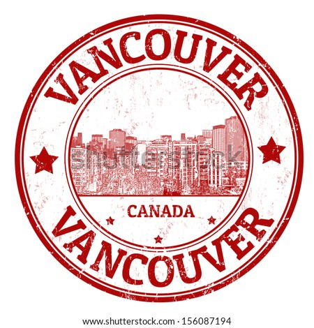 Red grunge rubber stamp with the name of Vancouver, a city of Canada, vector illustration