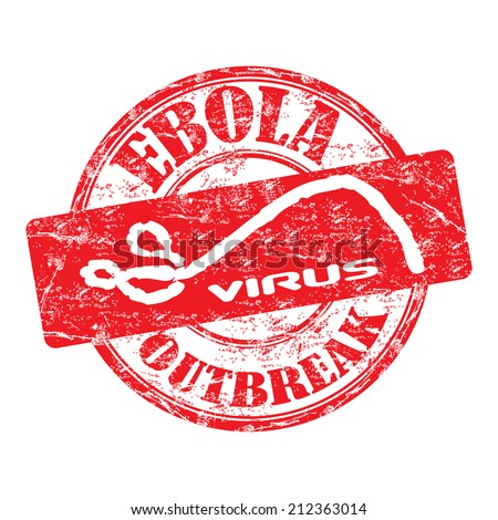 Red grunge rubber stamp with the text Ebola outbreak written inside the stamp - stock vector