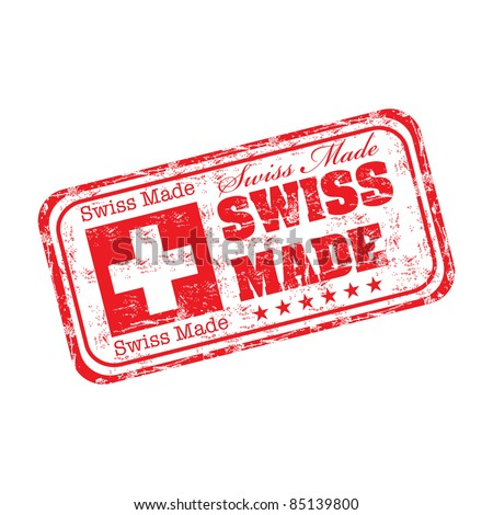 Red grunge rubber stamp with the text swiss made written inside the stamp - stock vector