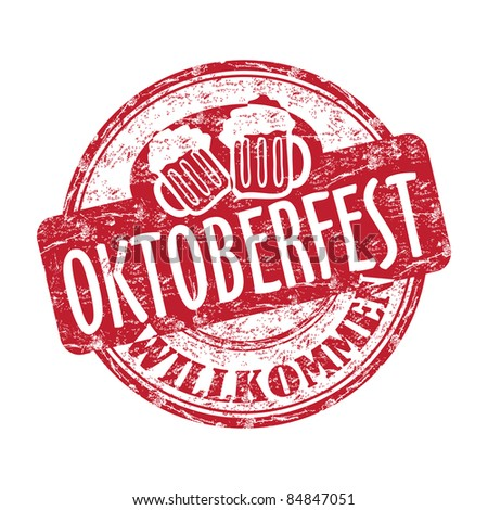 Red grunge rubber stamp with two beer mugs and the text Oktoberfest written inside the stamp - stock vector