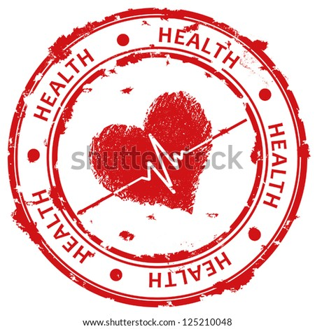 Red grunge stamp with heart and ecg - stock vector
