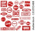 Red grunge stamps with negative words - stock vector