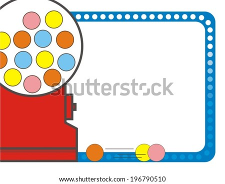 Red Gumball Machine with Blue Border Background, Vector - stock vector