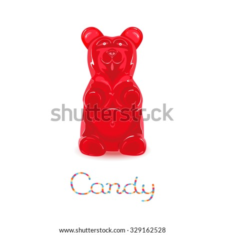 Red gummy bear candy isolated on white background - stock vector