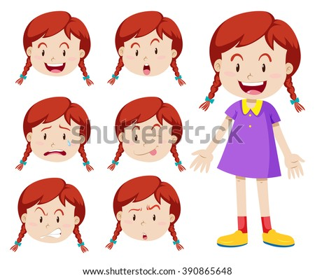 Red hair girl with facial expressions illustration - stock vector