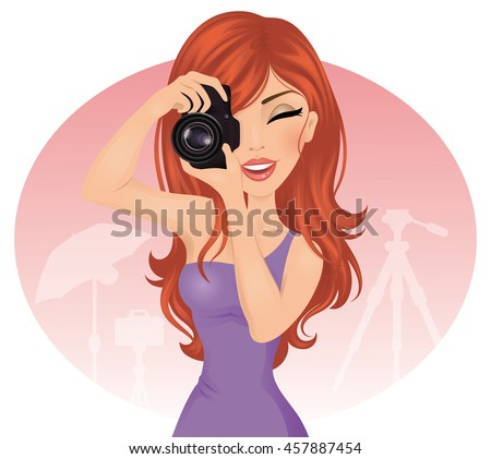 Red-hair young photographer woman taking photos using reflex camera.  - stock vector