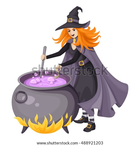 Red-haired beautiful witch in black dress, cloak and pointed hat making purple magical potion in an old large cauldron. Vector illustration isolated on a white background.