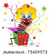 Red-haired clown with blue eyes jumps out from a box - stock photo