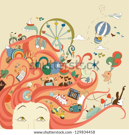 red-haired girl and her dreams about travel and vacation - stock vector