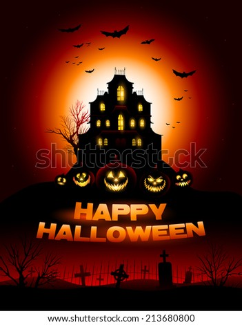 Red Halloween haunted house background vector illustration - stock vector
