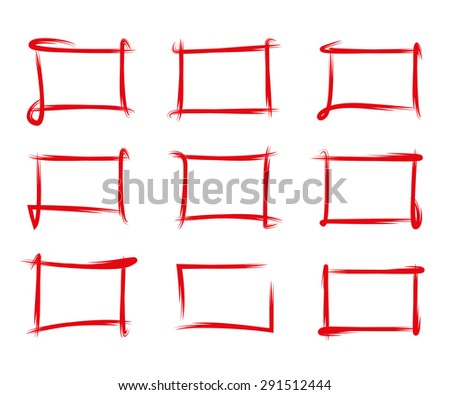 red hand drawn frames