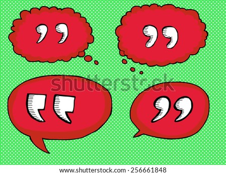 Red hand drawn quotation marks in bubbles over green - stock vector