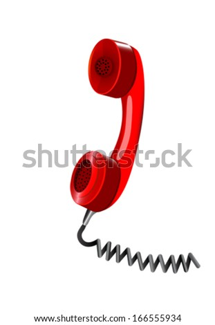 Red handset of telephone. Vector illustration  - stock vector