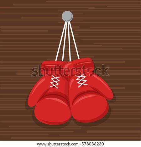 Boxing gloves cartoon hanging
