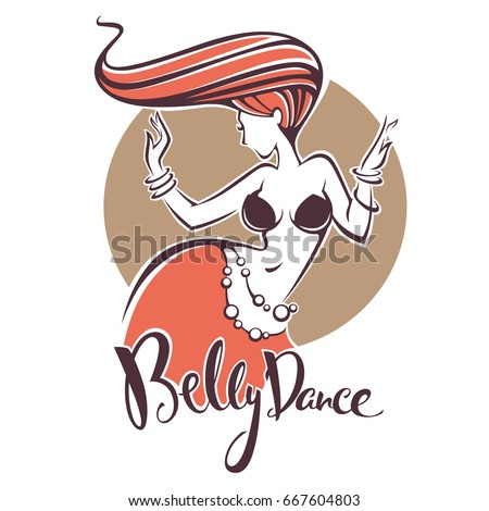 Red Head Belly Dance Lady Image Stock Vector 667604803 Shutterstock