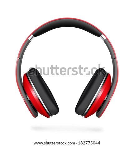 Red headphone isolated on white background. Vector illustration. Realistic. - stock vector