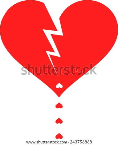 red heart, a broken by lightning and drops in the form of an inverted small hearts