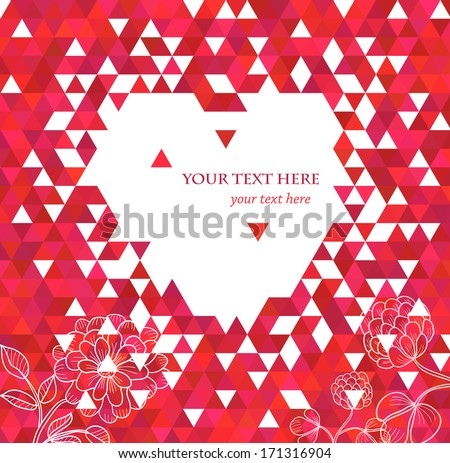 Red heart and flowers. Elegant Valentine`s day background.  - stock vector