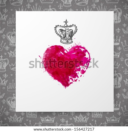 Red heart and grey background with crowns. Vector illustration.