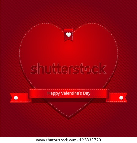 Red Heart and Red Ribbon Valentine's Day with Red Background EPS 10 - stock vector