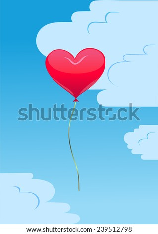 Red heart balloon in the sky background