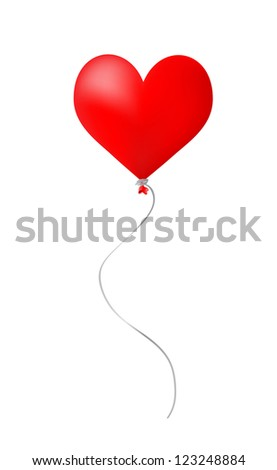 Red heart balloon on white - stock vector