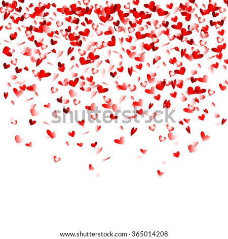 Red heart confetti background - stock vector
