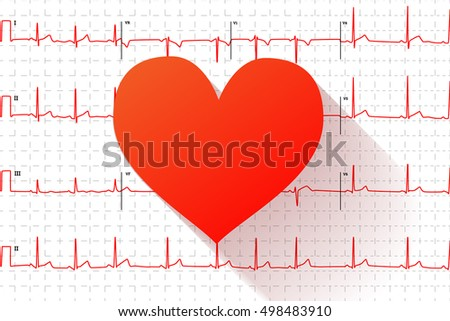 Red heart flat icon with long shadow on typical human electrocardiogram graph with marks on white