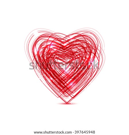 red heart for your design - stock vector