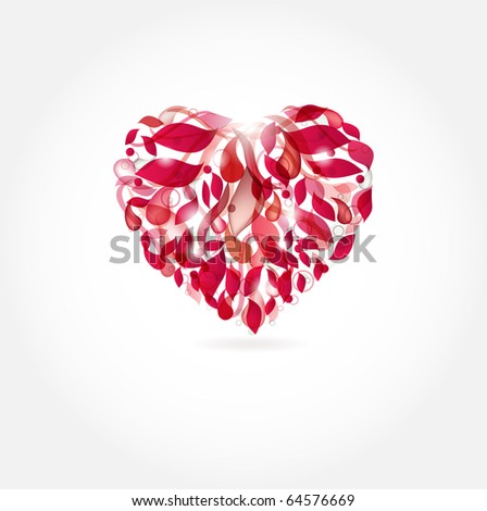 Red heart from drops and leaves - stock vector