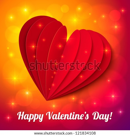 Red heart from paper Valentines day card with sign and lights - stock vector