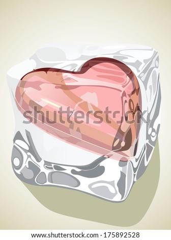 Red heart frozen in ice cube  - stock vector