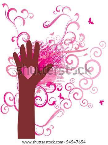 red heart hand vector - stock vector