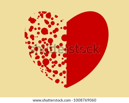 Red Heart Icon Half Circle Dot Stock Vector Royalty Free