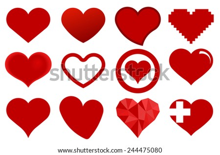 Red heart icons. Love symbol - vector illustration - stock vector
