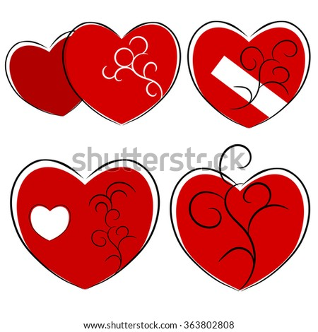 Red heart in love concept illustration - stock vector