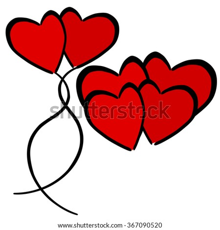 Red heart in love drawing concept illustration - stock vector