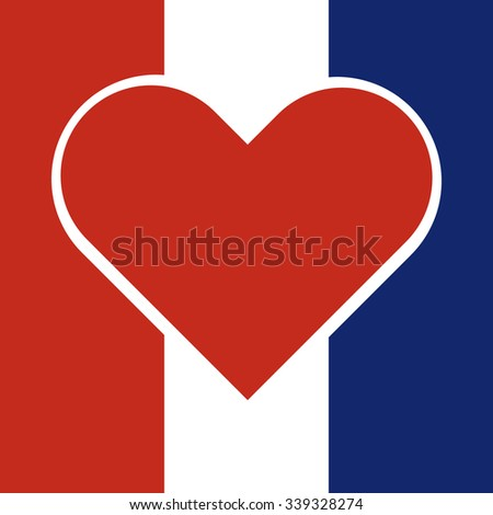 Red heart inside a national flag of france with Pray for France concept. Vector illustration design.