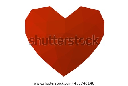 Red heart isolated on white background. Geometric rumpled triangular low poly origami style gradient graphic illustration. Vector polygonal design for your business.