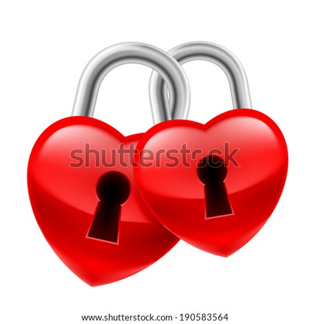 Red heart locks with keyholes chained together as symbol of strong love - stock vector