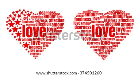 Red heart made up of words and stars.  Love, amour, fondness, affection, dearness. Vector design elements for Valentine's Day. - stock vector
