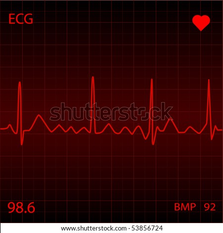 Red Heart Monitor - stock vector